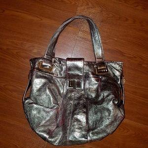 Kooba metalic and red leather hobo handbag
